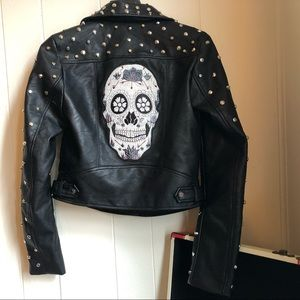 Zara studded leather jacket